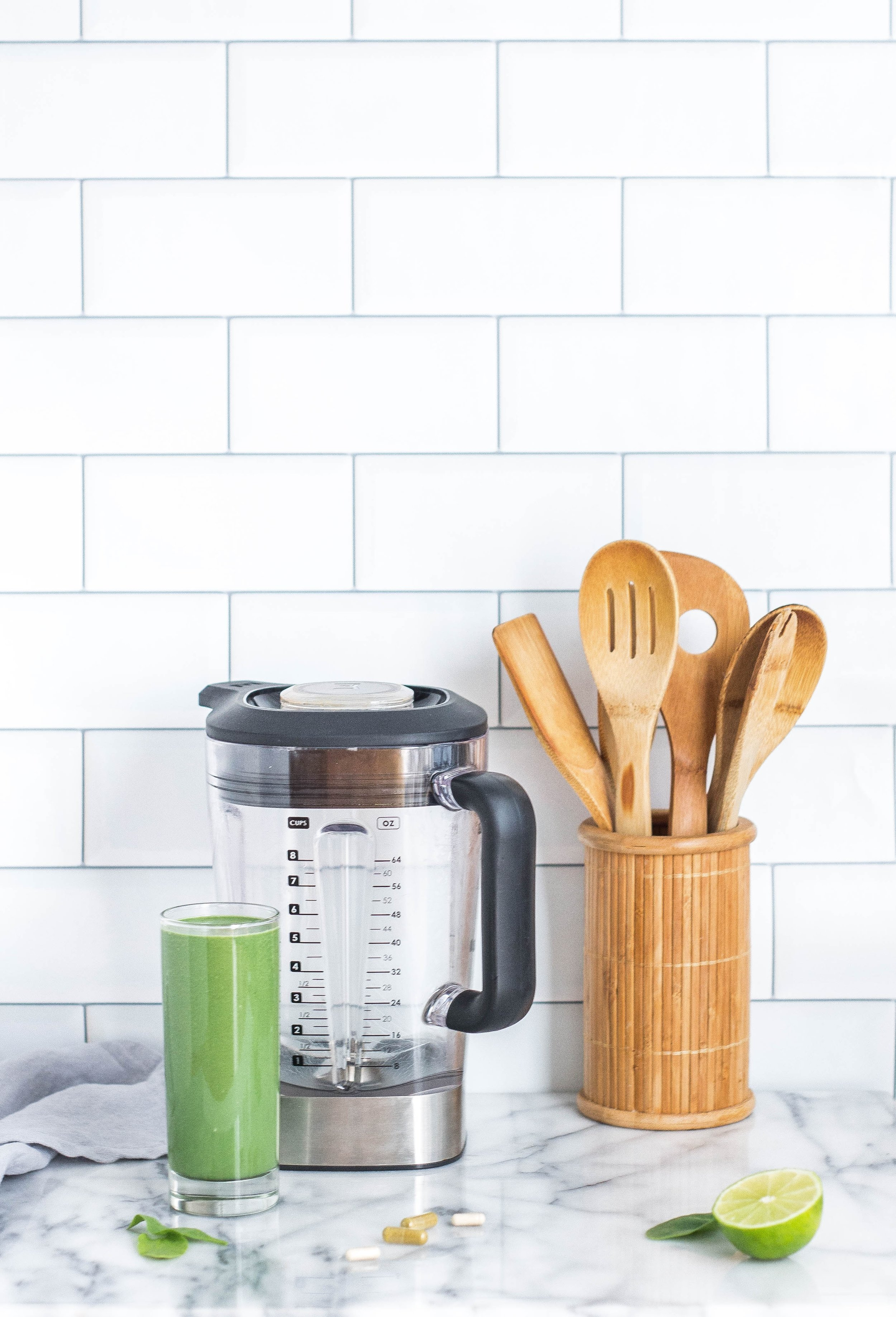 green smoothie and blender