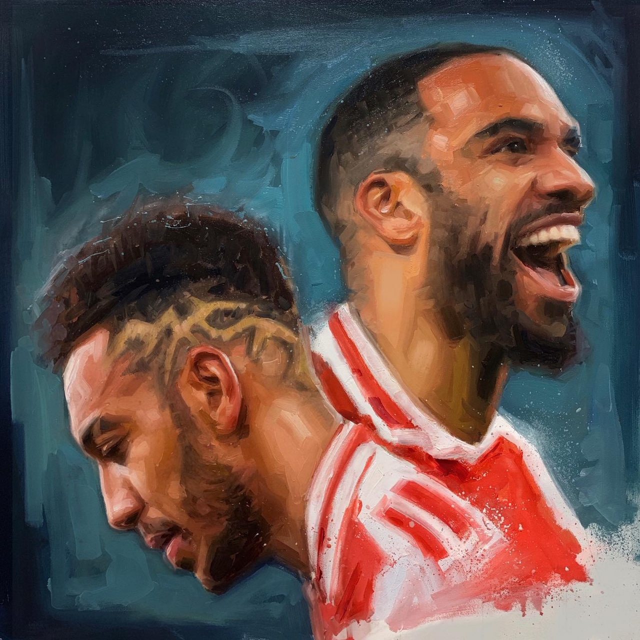 Aubameyang Lacazette Arsenal Oil Painting