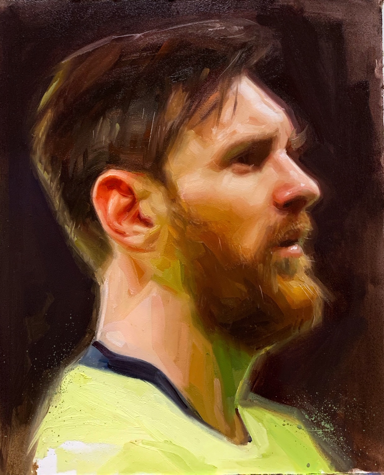 Lionel Messi Barcelona Oil Painting