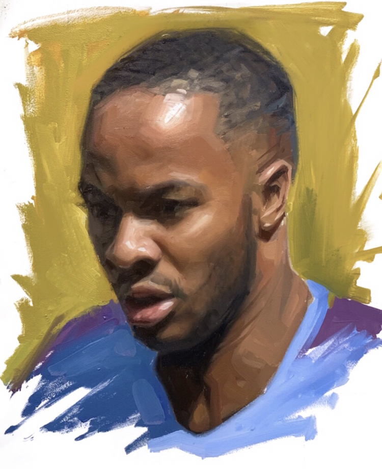 Raheem Sterling Manchester City Oil Painting