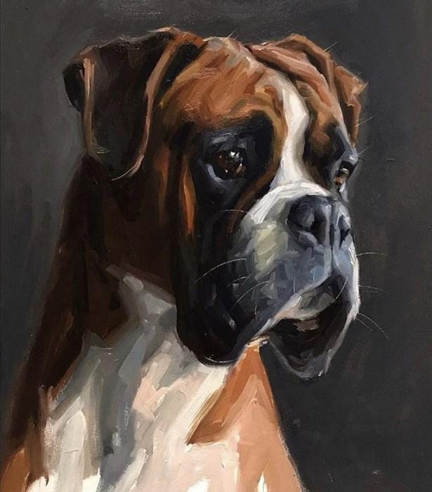 Boxer Dog Portrait Oil Painting