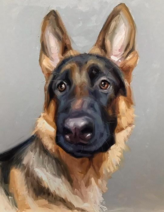 German Shepherd Alsatian Oil Painting Pet Portrait