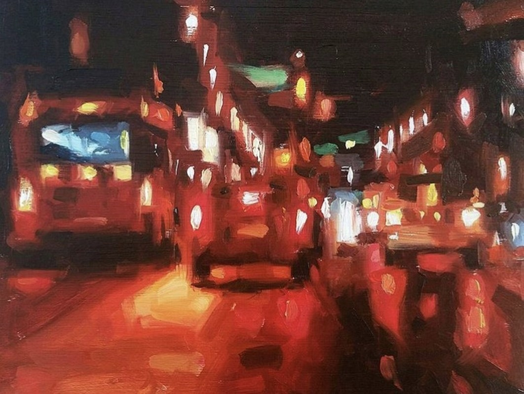 Red Street study Oil Painting