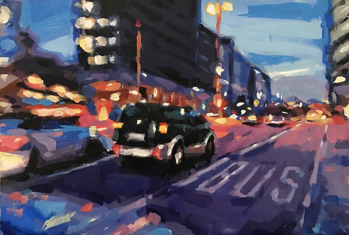 Violet Street Study Oil Painting