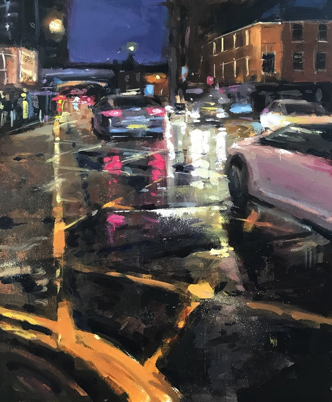 Rain on Deansgate Oil Painting