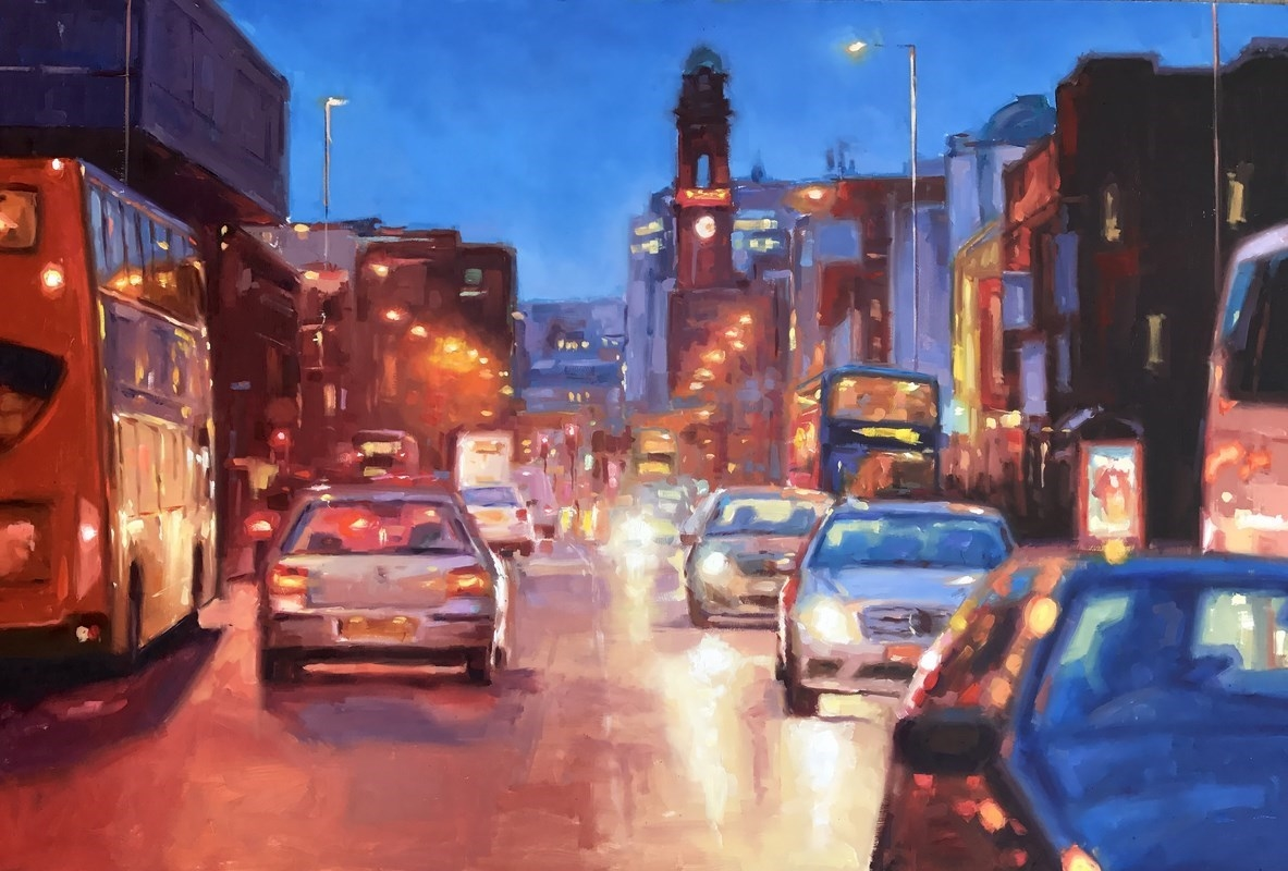 Manchester Oxford Road Oil Painting Street Scene