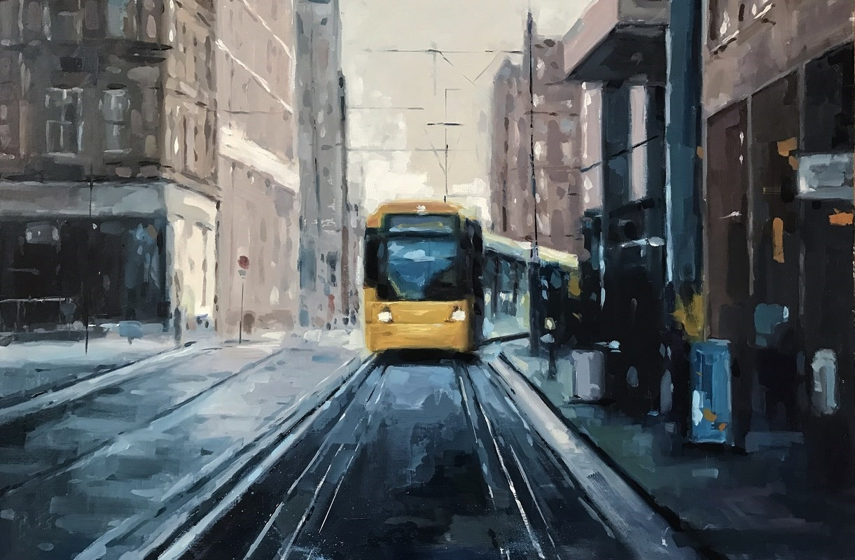 Manchester Piccadilly Oil Painting Tram Street Scene