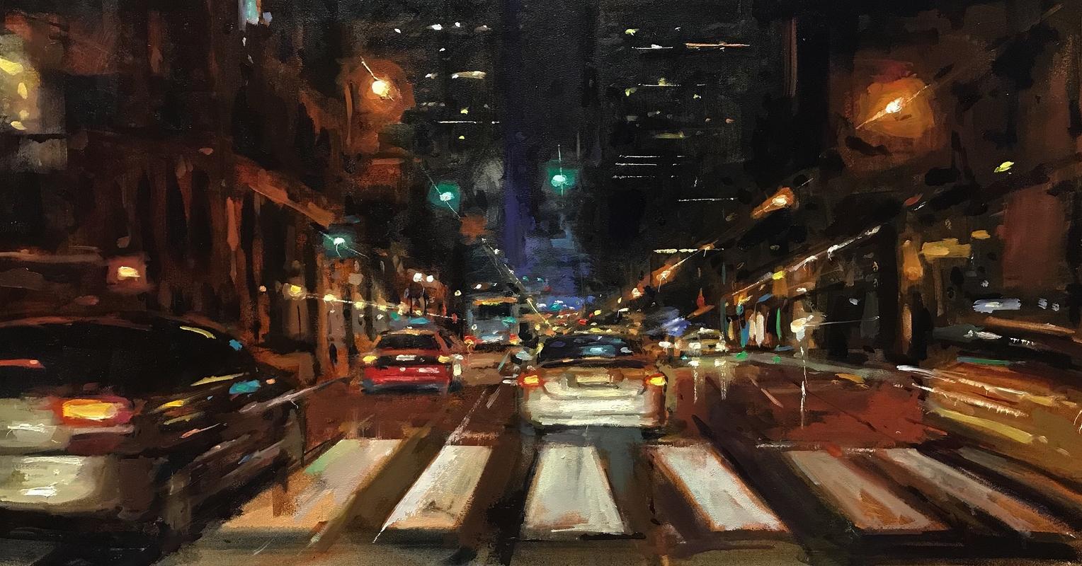 Street Scene Oil Painting night
