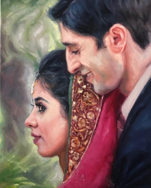 Live Asian Wedding Event Portrait Oil Painting UK