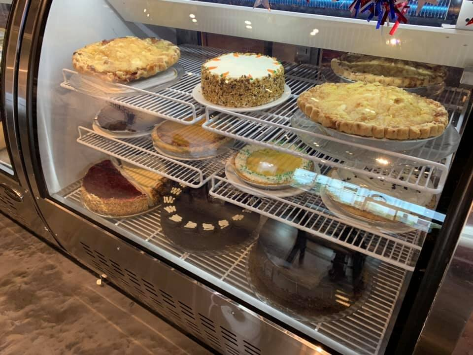 Check out our famous dessert case: homemade cakes, pies and more!