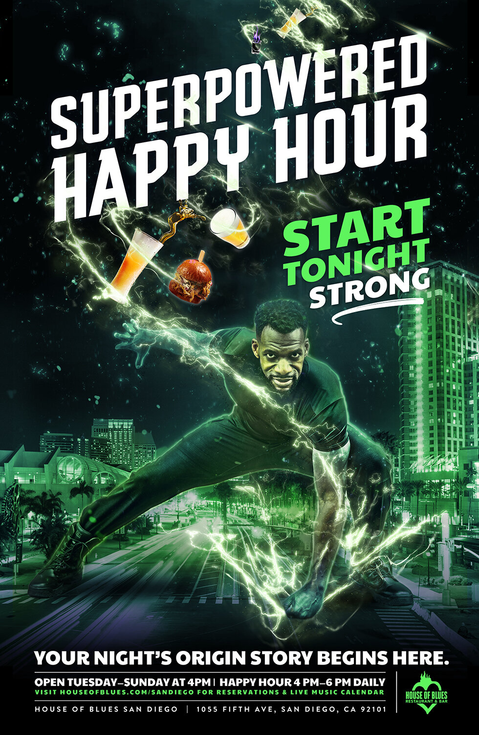 House of Blues Restaurant & Bar - Comic Con Campaign - Happy Hour