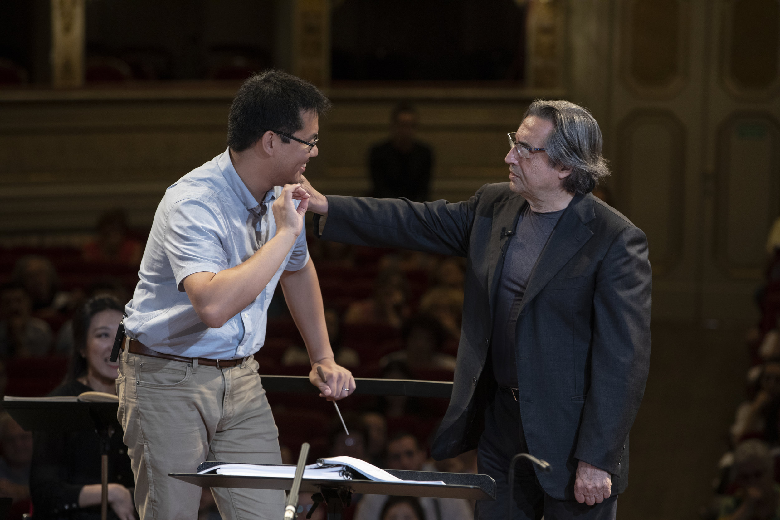 Working with the maestro… - Wilbur Lin studied with Riccardo Muti at the 2019 Italian Opera Academy in Ravenna, Italy.Photo © Silvia Lelli