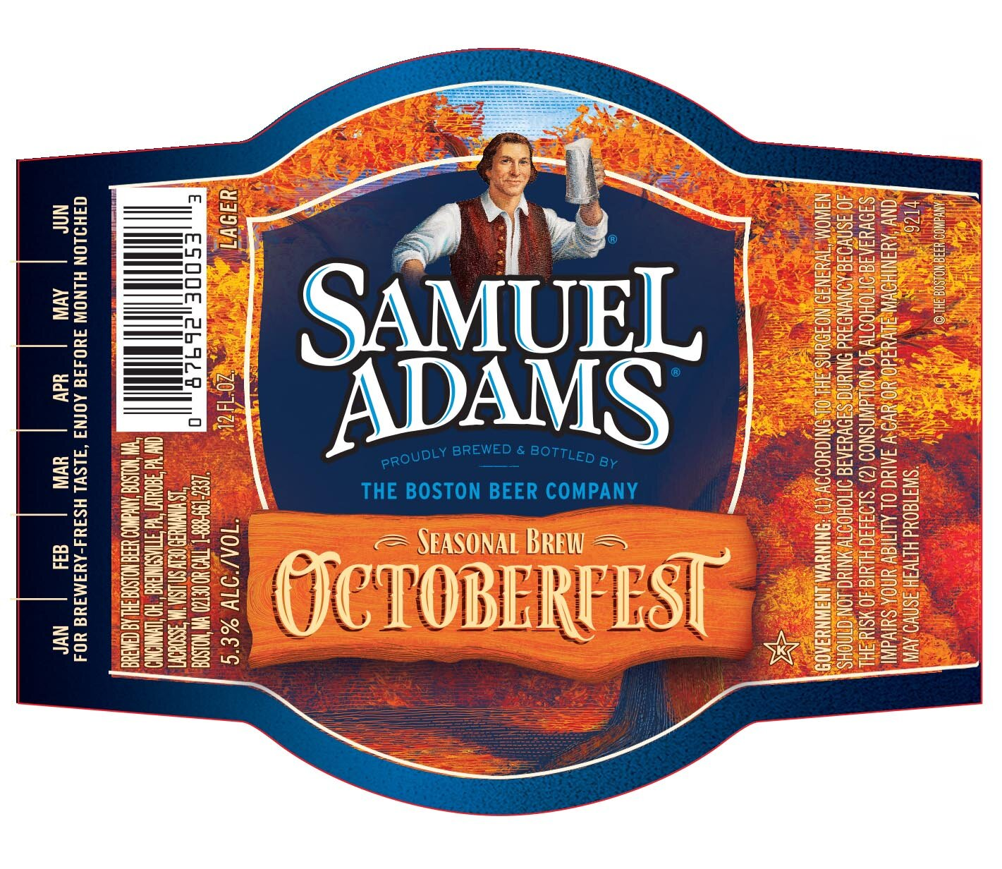 Sam Adams Octoberfest – 5.3% - In 1810, the Oktoberfest tradition was born when Munich celebrated the Crown Prince's wedding with a special beer and 16-day party. Our version of this classic style blends hearty malts for a deep, smooth flavor with notes of caramel creating a brew that's perfect for the season, or whatever you're celebrating.