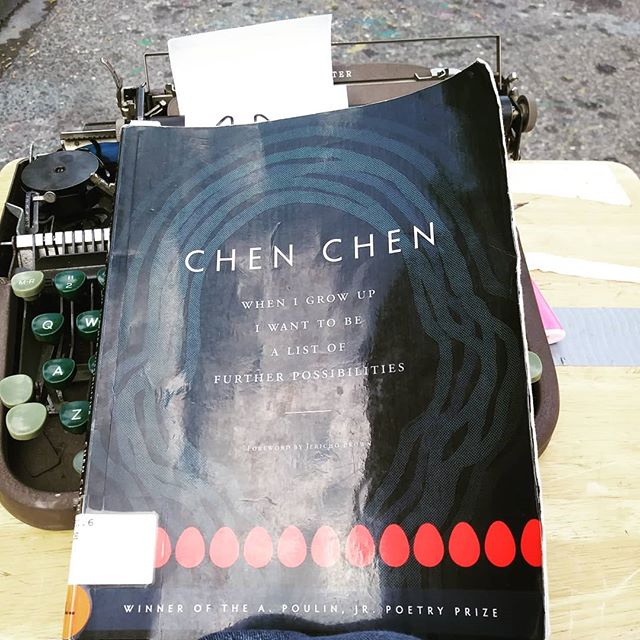 Reading @chenchenwrites When I Grow Up I Want To Be A List Of Further Possibilities -- a bundle of gorgeosity -- at the corner of oxford and augusta.