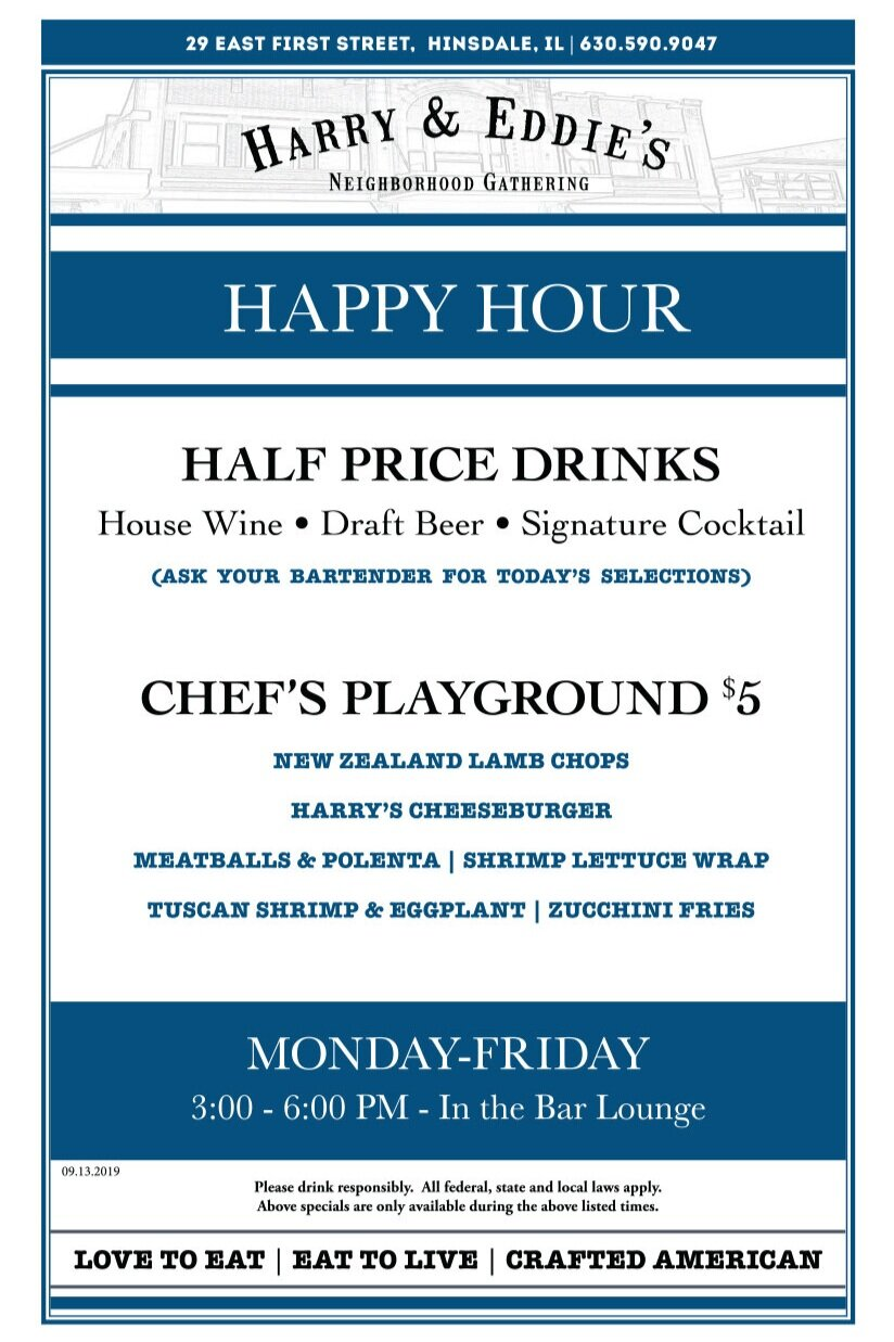 Happy Hour:  Weekdays from 3 pm to 6 pm in the bar lounge. Stop by after a long day of work or just to socialize with friends. Ask your bartender for the daily half price drink selections.