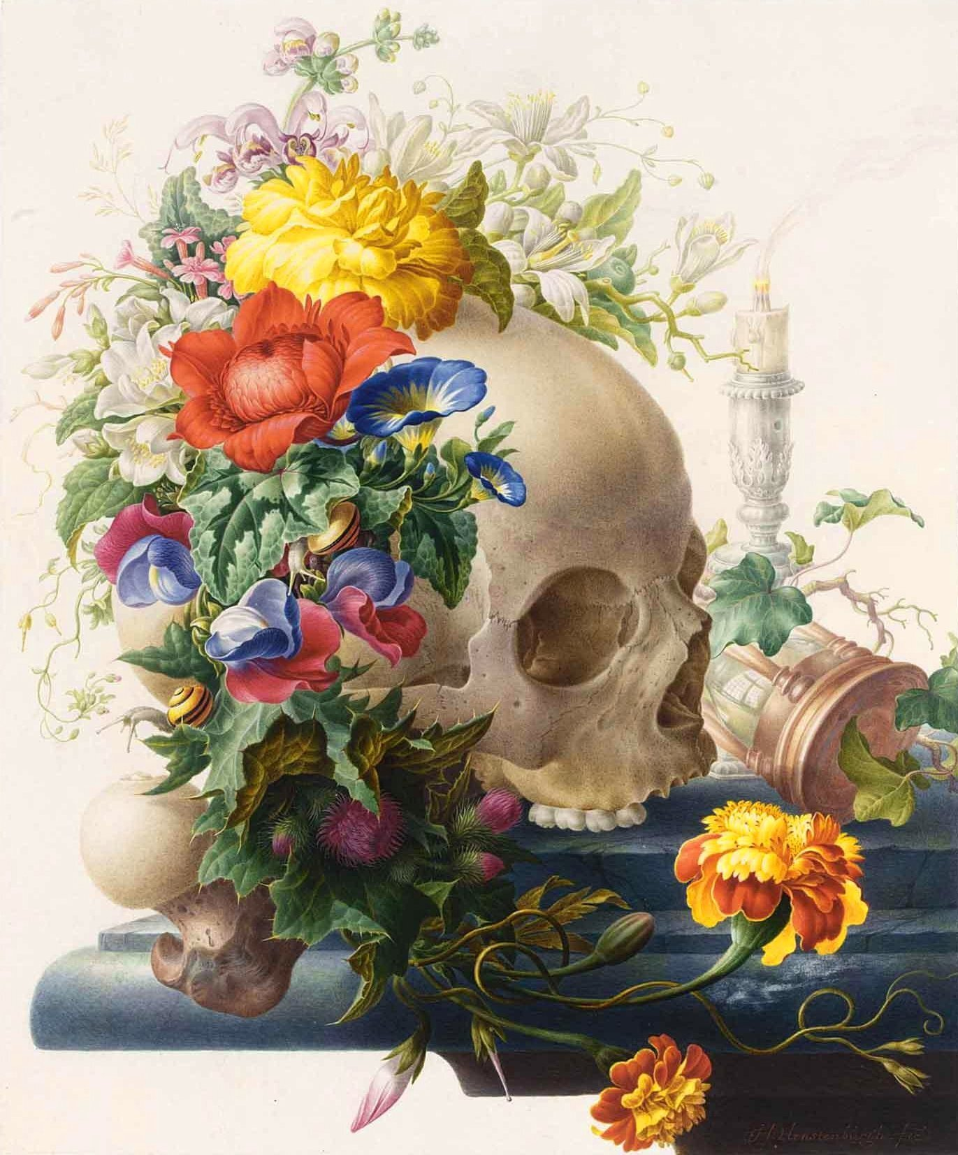 Vanitas-Still-Life-with-a-Skull-Wreathed-with-Flowers-I-Herman-Henstenburgh-oil-painting.jpeg