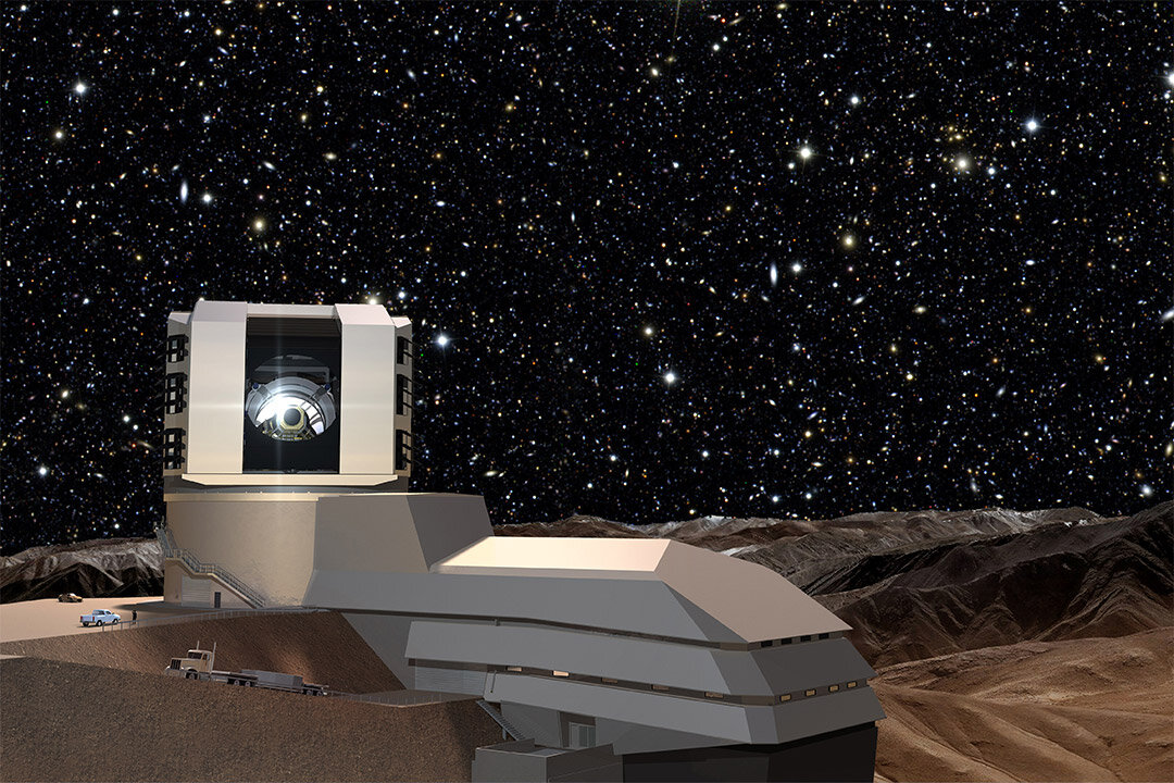 A starry night sky provides a background for the LSST facilities building on Cerro Pachón. The LSST will carry out a deep, 10-year imaging survey in six broad optical bands over the main survey area of 18,000 square degrees.  Image Credit: Todd Mason, Mason Productions Inc. / LSST Corporation