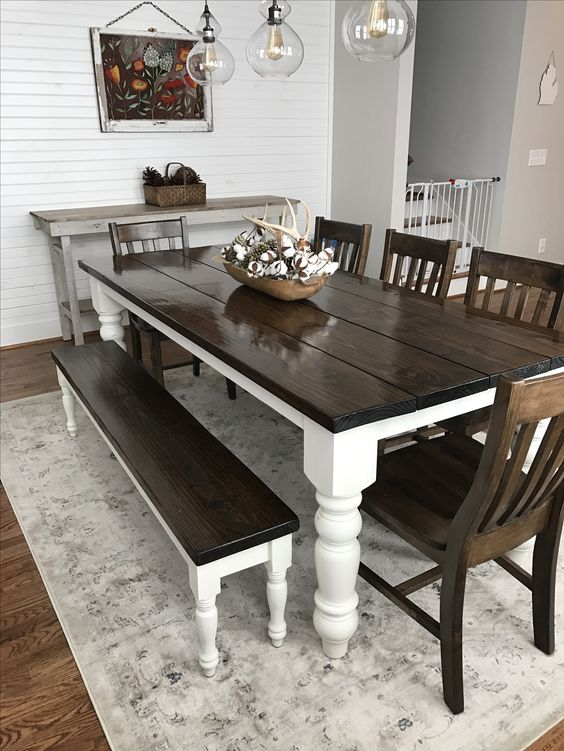 Dark Wood Table With White Chairs Off 51, Dark Wood Dining Room Table With White Chairs
