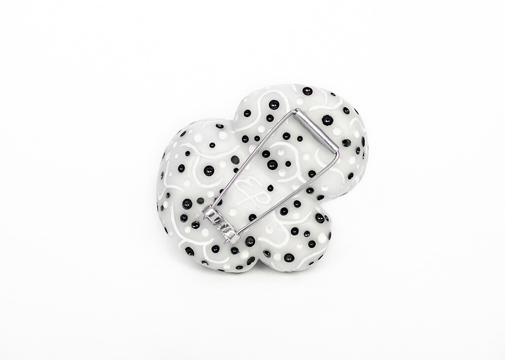 Honey Truffle  Brooch (back), 2018 Carved acrylic, sterling silver, resin Image by Adam Carscadden
