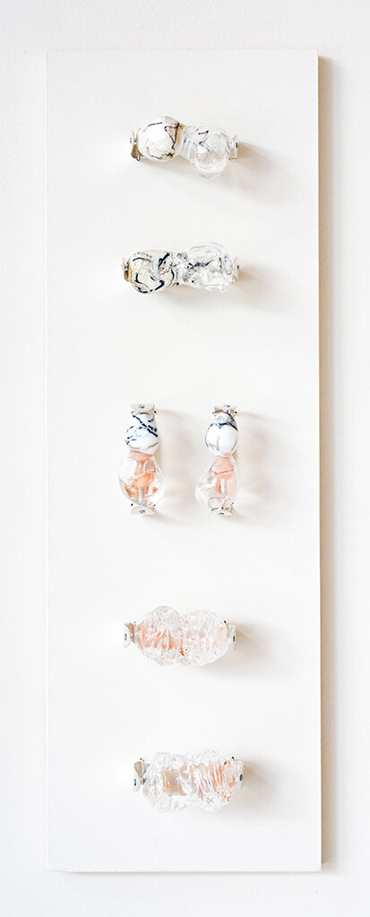 Flesh and Stone  Rings, in situ at Mary E. Black Gallery Lamp-worked glass, sterling silver Image by Grace Laemmler