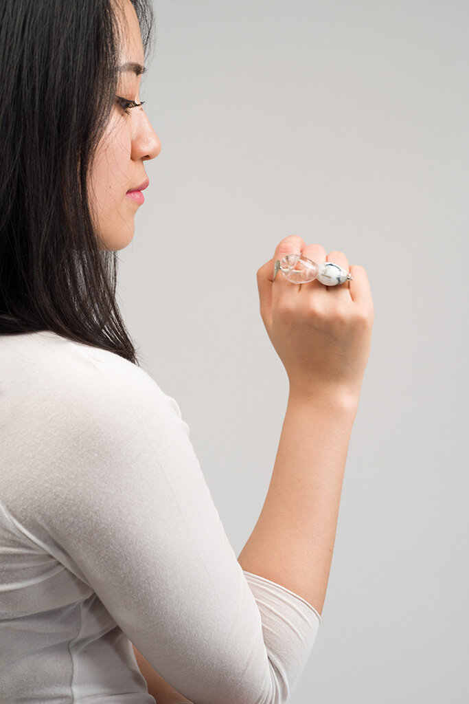 Flesh and Stone  Ring, 2016 Lamp-worked glass, sterling silver Image by Grace Laemmler
