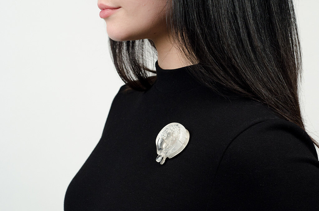 Melting Reflector  Brooch, 2015 Carved acrylic, sterling silver, steel