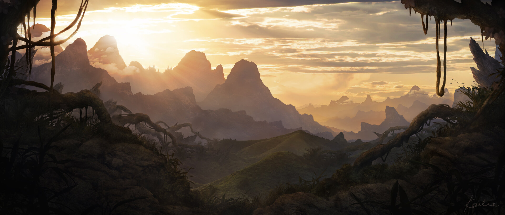 Valley of Kalhu Ralu Ruins  : landscape concept art of a valley at sunset by Karlie Carpentier Rosin