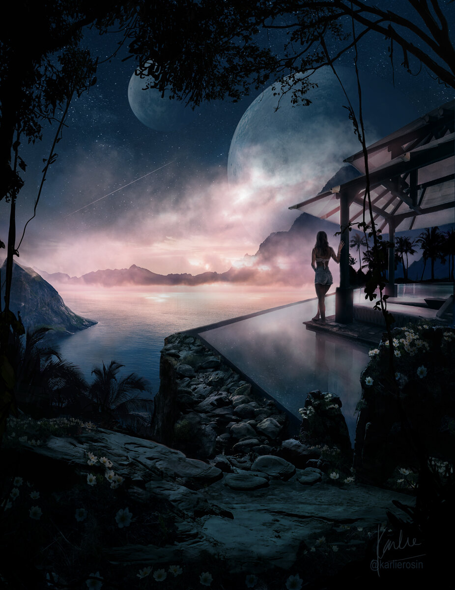 Double Moon exoplanet luxury villa: matte painting as a part of the luxury travels on exoplanets project by Karlie Carpentier Rosin. Imagine being able to enjoy the sunset from this mountain side villa with views of the double moons?