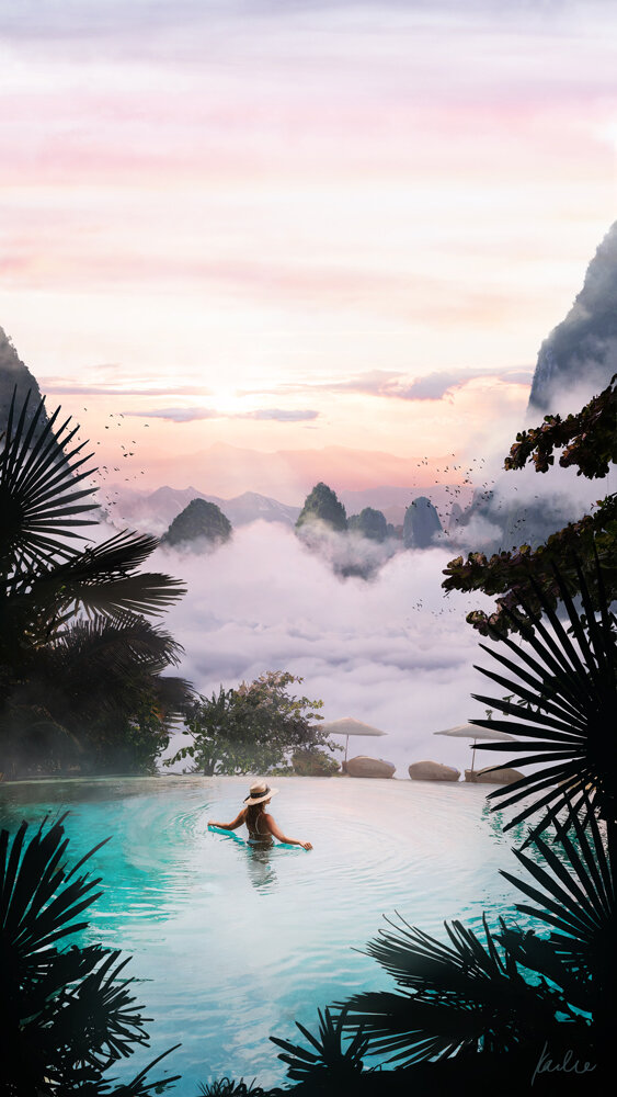 Inifinity Pool Luxury Vacation: matte painting as a part of the luxury travels on exoplanets project by Karlie Carpentier Rosin. Imagine being in an infinity pool right up in the beautiful clouds!