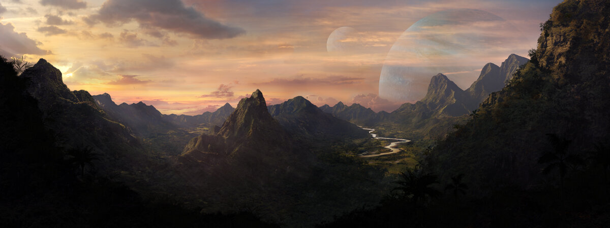 Luxury Travels on an exoplanet with double moons | matte painting created by Karlie Carpentier Rosin as a part of her luxury travels on exoplanet project