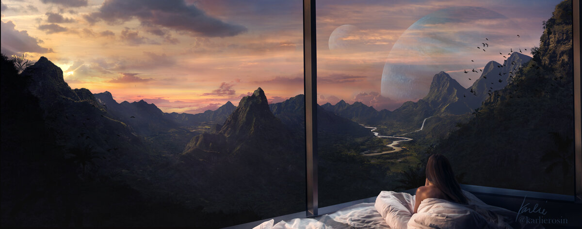 Here is an edited version of the Luxury Travels on an exoplanet with double moons matte painting created by Karlie Carpentier Rosin as a part of her luxury travels on exoplanet project. Imagine if you could wake up on this planet and realize that the tilt of this planet is just so at this time of year that sunsets last almost all day (and 1 day here is like 3 for us!).