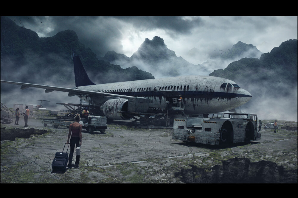 Digital matte painting created by Karlie Carpentier Rosin as a part of a project back in 2014. The task was to reimagine an old airport after a disaster. Karlie decided to place it at the top of mountains in a remote location.