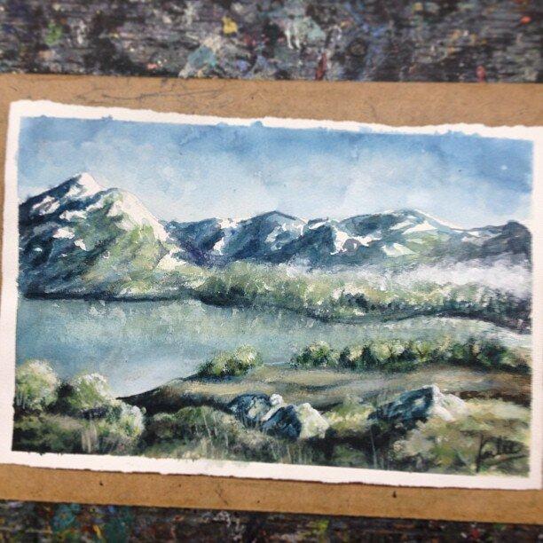 Light study of a landscape: watercolour on watercolour paper
