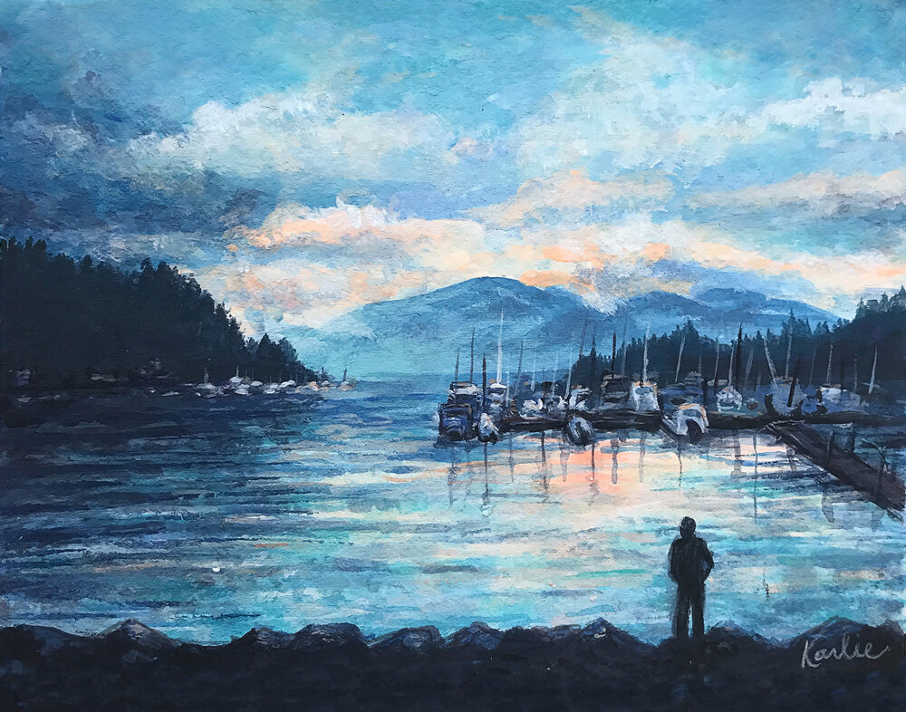 Deep Cove Sunset: acrylic paint on watercolour paper.