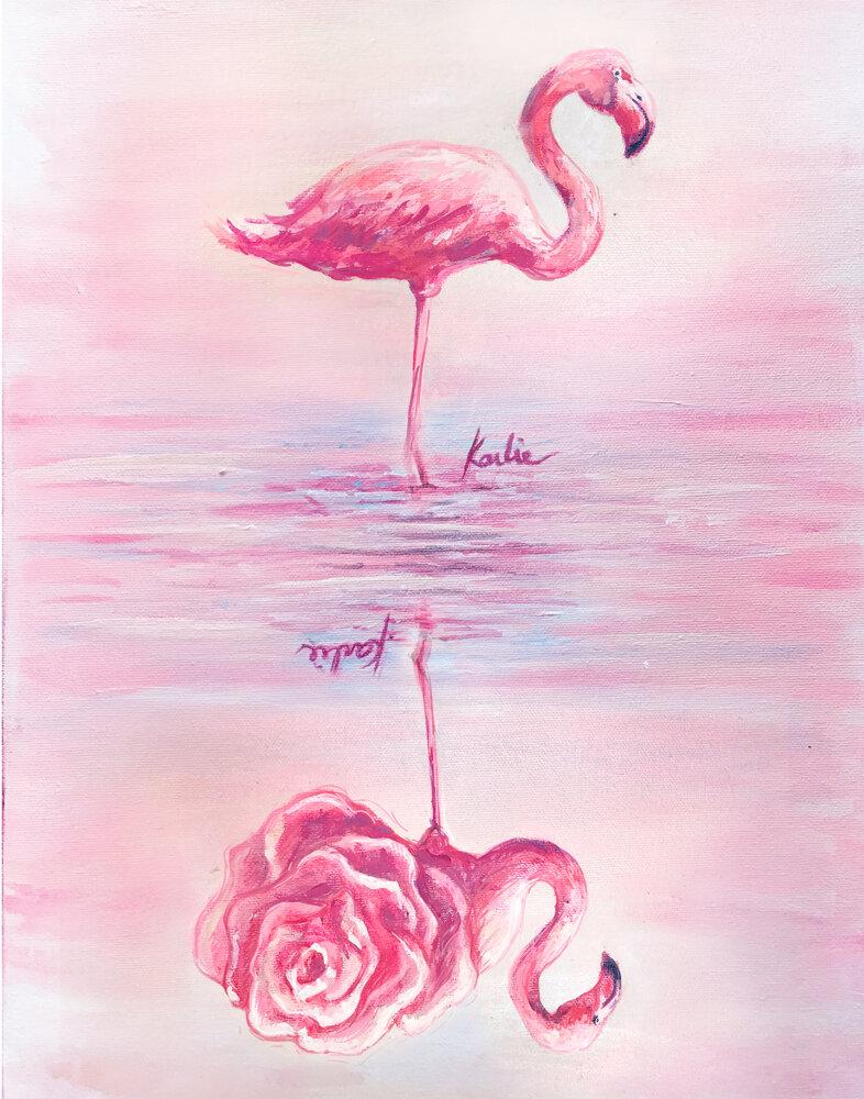 Flippable Flamingo: acrylic on canvas