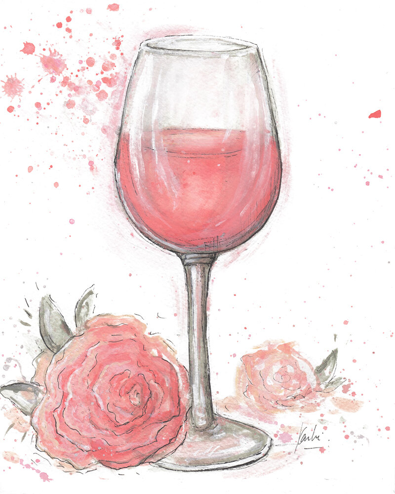 Rose All Day: acrylic and gouache paint on watercolour paper