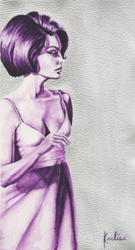 Purple Lady: acrylic on watercolour paper using silver paint on the background