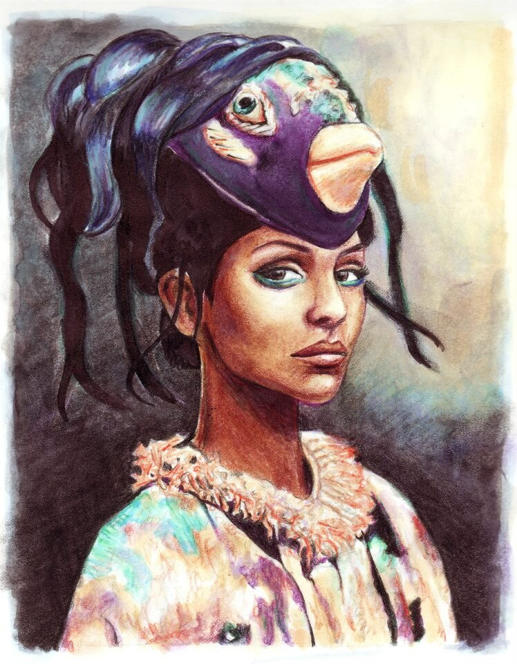 Mademoiselle: coloured pencils and markers on marker paper