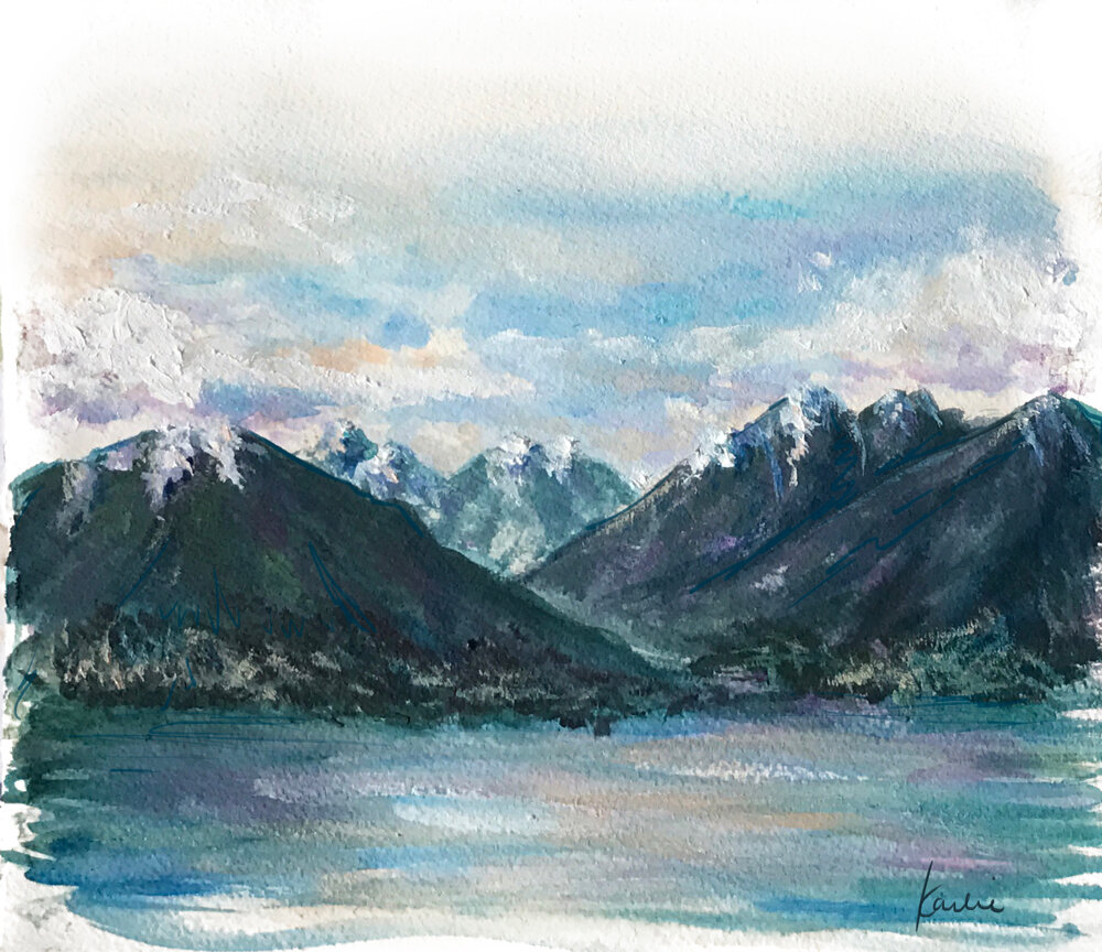North Vancouver Mountains: plein air painting - acrylics on watercolour paper