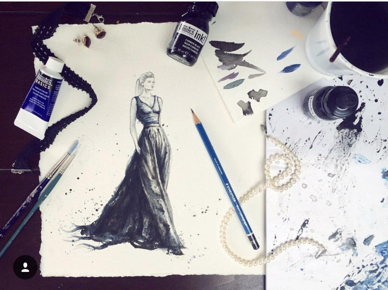Fashion Illustratoin: inks and watercolours on watercolour paper