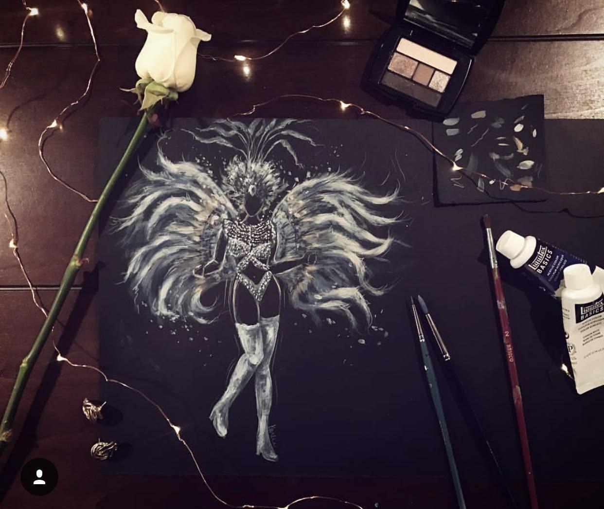 Fashion Illustration: acrylic paint on black paper
