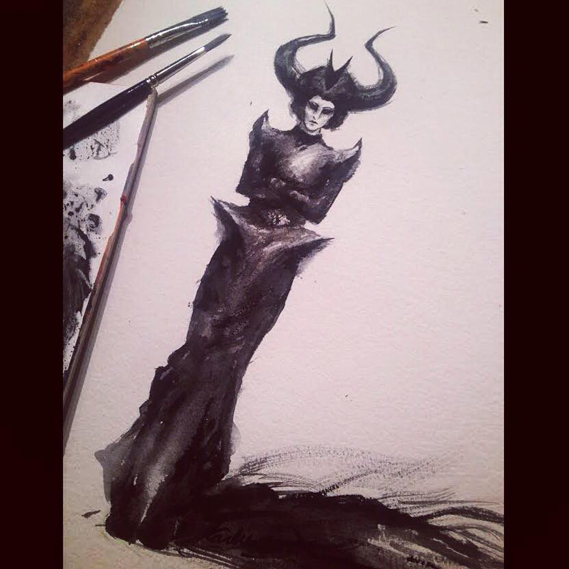 Fashion Illustration: inks on watercolour paper