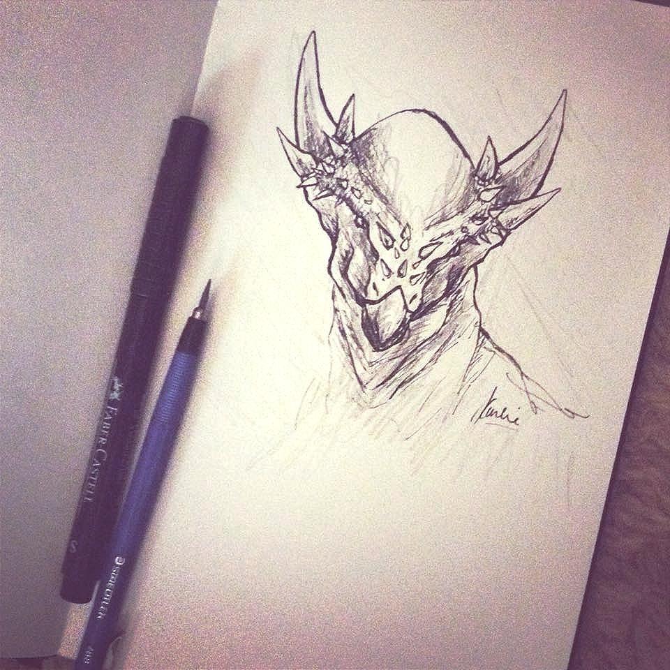 Stygimoloch dinosaur sketch: pens in sketchbook
