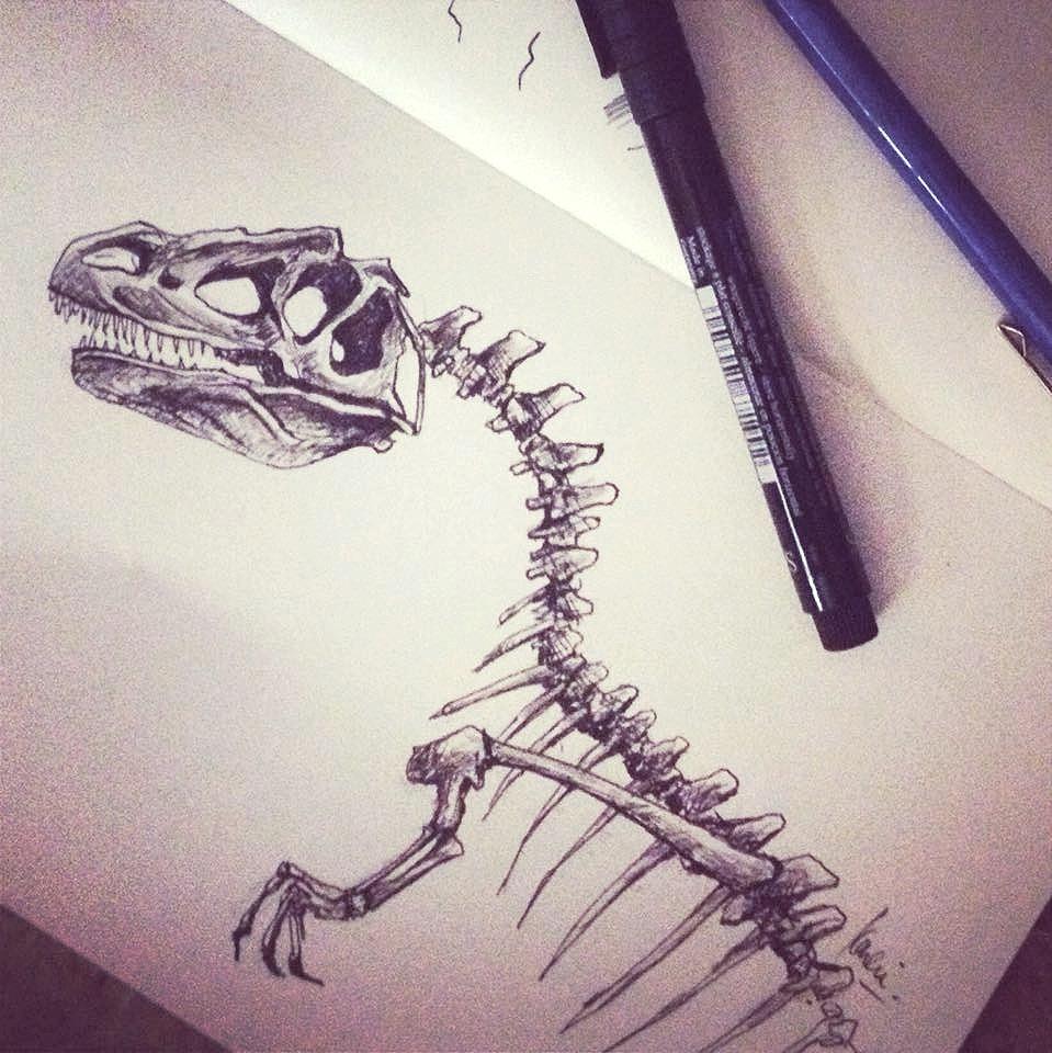T-Rex dinosaur sketch: pens in sketchbook