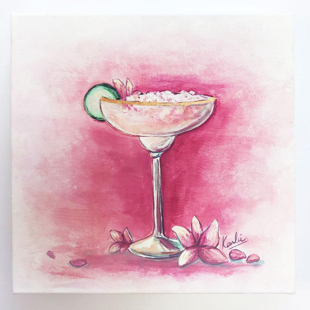 Cocktail Art: acrylic on canvas with gold accents