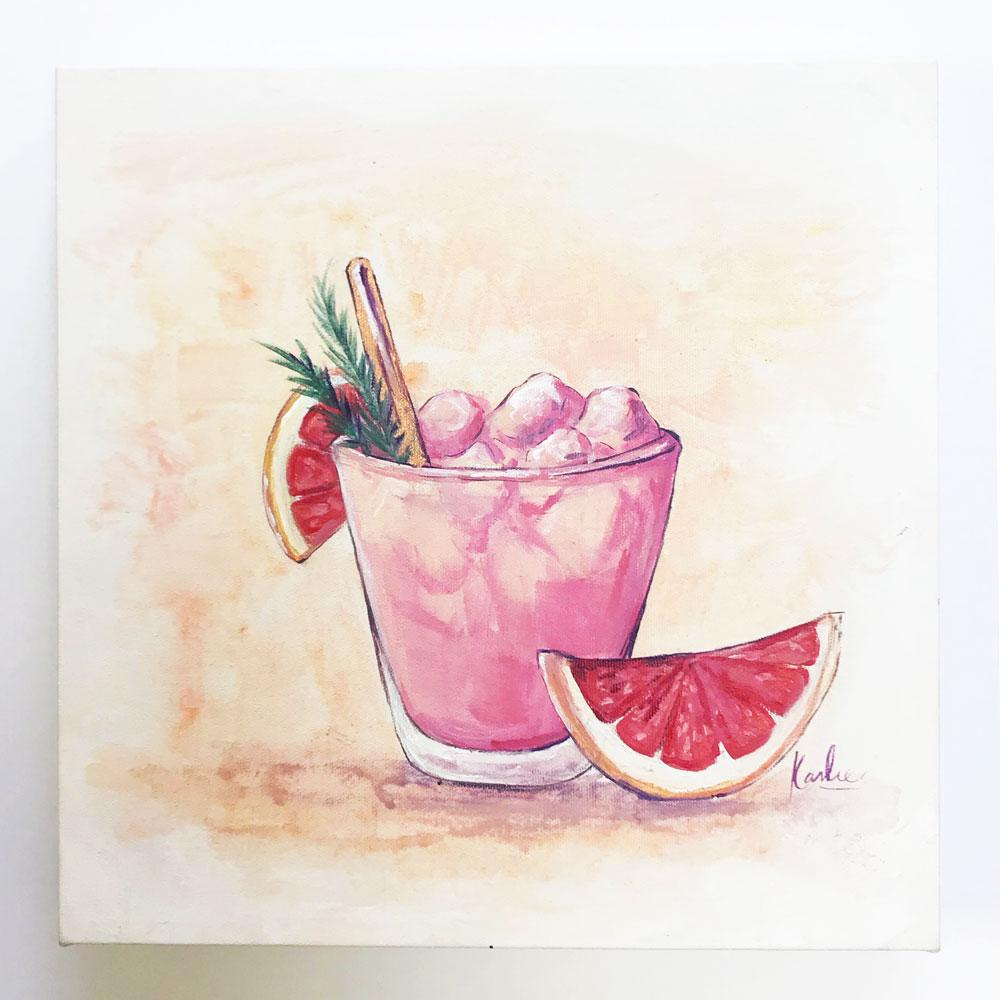Cocktail Art: pamplemousse - acrylic on canvas with gold accents