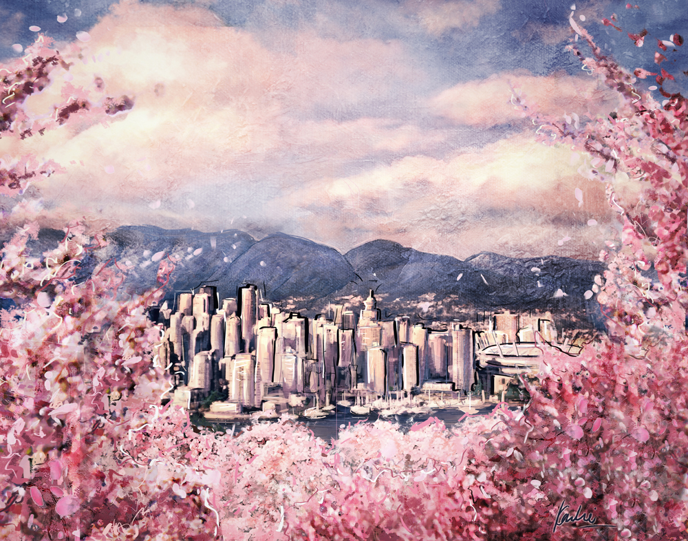 Cherry Blossoms in Vancouver: mixed media
