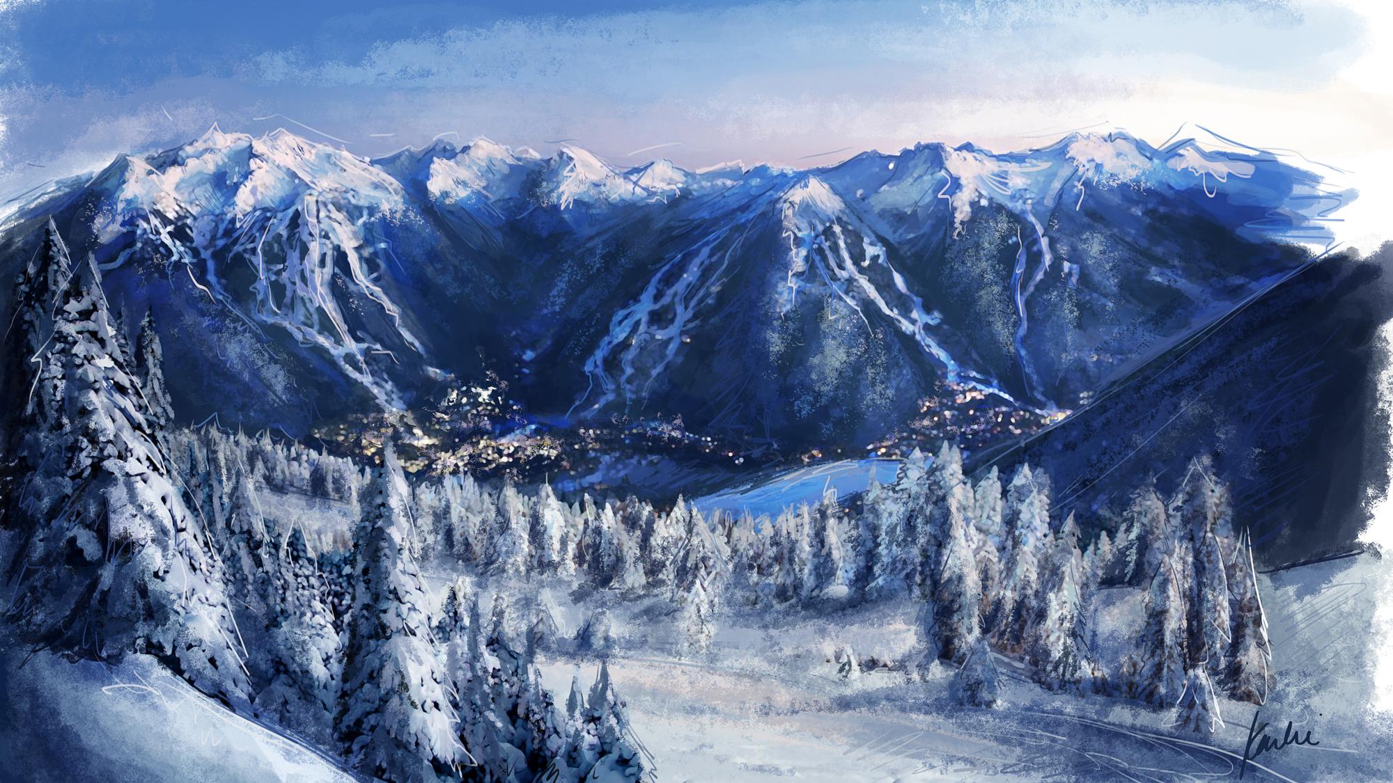 Whistler Village Illustration: mixed media