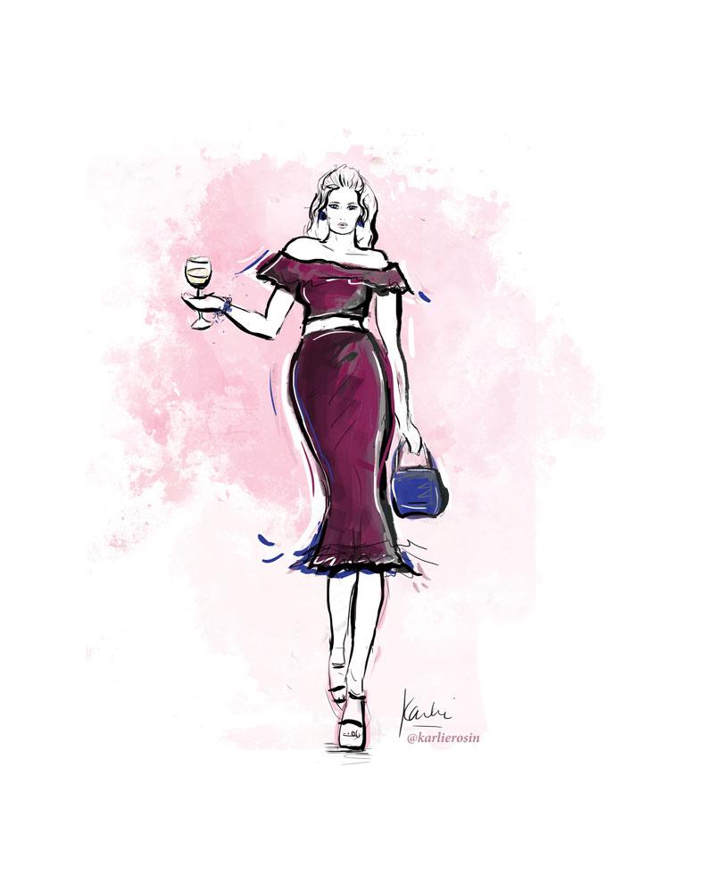 Fashion Illustration: mixed media | Partnership with Fashion Week Online Gala