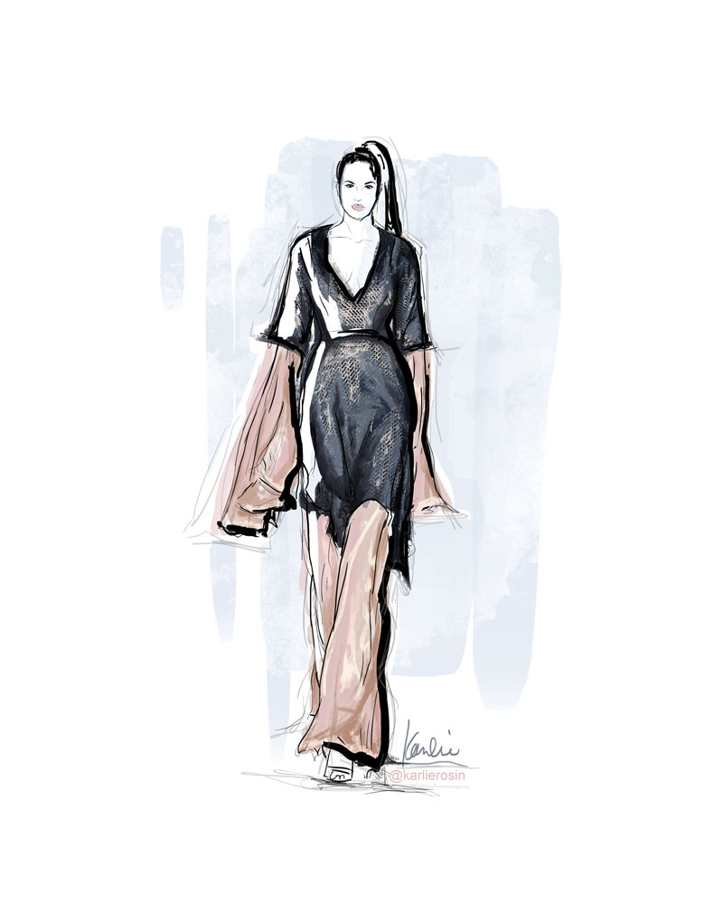 Fashion Illustration: mixed media | Partnership with Global Fashion Collective in New York Fashion Week